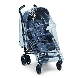 Rain cover compatible with most strollers Protects the child from rain, snow and wind Includes storage pocket Perforated areas on sides for ventilation Practical pockets are also featured at the rear