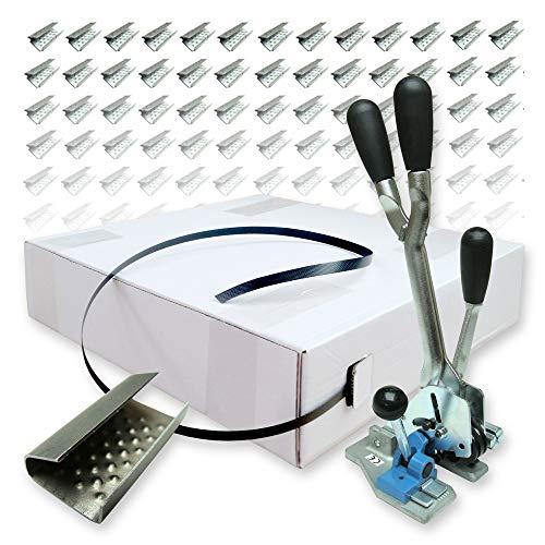 PP-Band Spenderkarton-Set 12 mm - 1000 m Umreifungsband, Reißfestigkeit 140 kg mit Spann- und Verschlussgerät und 500 Metallverschlusshülsen - PP Umreifungsset