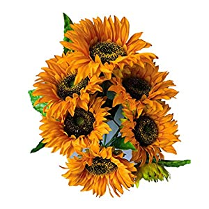 """Suandsu Artificial Sunflowers 1 Bouquet Fake Silk Flowers for Home Wedding Office Party Decor 7 Heads 20.8"""" High Oil Painting Ginger Yellow"""