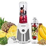 Duronic BL505 Batidora de vaso individual portátil 500W con 2 Botellas Reutilizables de 600ml libres de BPA e Infusor Incluido - Ideal para smoothies, batidos proteicos, picar hielos, zumos