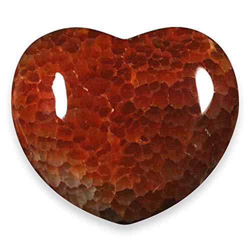Rojo fuego Ágata Corazón de cristal - 4,5 cm