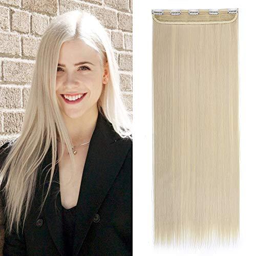 Extension Cheveux Monobande Lisse Une Pièce Extension A Clip Cheveux Synthétique Raide Rajout Cheveux A Clip - 23 Pouces, Blond Très Clair