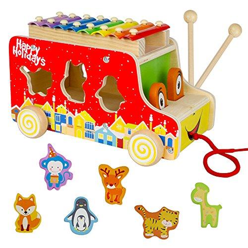 XilófonoInfantil con Autobús Bus y Puzzle Madera Colorido Juguetes MusicalesBebe de Madera...