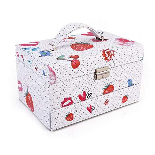 Caja de almacenamiento de joyería de tres capas de estilo europeo duradero de cuero sintético de varias impresiones con cerradura #Pennytupu