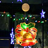 Tcamp Christmas Lights Hanging Lighted Bell Lights with Suction Cup, Battery Powered 10 LED String Lights Christmas Lighted Window Decorations Window Lights for Christmas Tree Home Party (1Pack Bell)