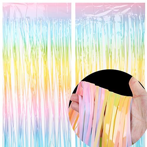 Lametta Vorhang Regebogen Bunt 2 Pack Glitzer Vorhang Metallische für Einhorn Party Geburtstagsdeko Folie Hintergrund als DIY Photo Booth Tür Fenster Foto Hintergrund Dekorationen