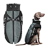 Didog Waterproof Dog Winter Jackets,Cold Weather Dog Coats with Harness & Furry Collar,Easy