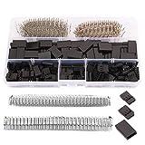 GTIWUNG 720Pcs Dupont Conectores Kit con 2,54mm Dupont 3 Pin Terminales, Kit 2.54mm Carcasa del Conector con Terminales, 3 Pin Dupont Cables Pin Conector (Negro)