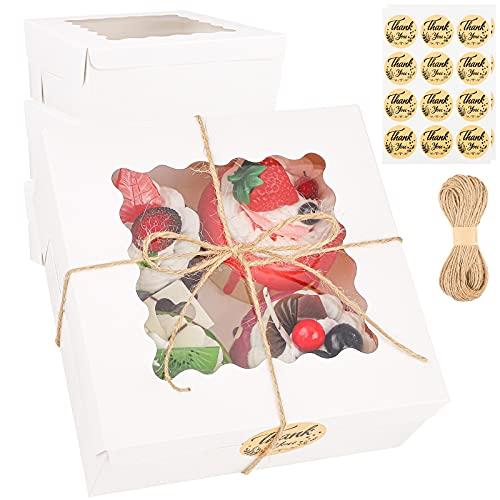 Ruisita 15 Stück weiße Bäckerei-Boxen mit Fenster für Kekse, Kuchen, Geschenkboxen, automatische Pop-up-Boxen für Gebäck, Cupcakes, Kekse, Brownies, Donuts, Geschenk, 15,2 x 15,2 x 6,3 cm
