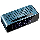 FENGCLOCK Tragbar Bluetooth Lautsprecher Auto Wecker, Intelligent Touch-Steuerung Helligkeit einstellbar LED Spiegel Wecker AM/PM/AUX/TF Mehrere Spielmodi,Blau