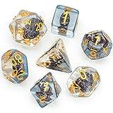 LIUYU Dados Set 7pcs Sailboat Dice D4 D6 D8 D10 D% D12 D20 Dados de Polyhedral Dados Set para Juegos de Mesa