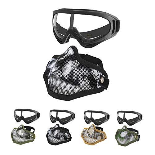 MGFLASHFORCE Airsoft Mask and Goggles, Airsoft Face Mask Steel Mesh Mask Half Face Protection (Black Skull)