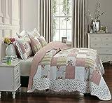 Edredón acolchado con estampado patchwork de estilo vintage compuesto por 1 colcha y 2 fundas de almohada,...
