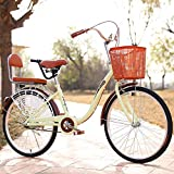ZYLFN Urban Commuter Bike, Mens Women City Bicycle, 24 Inch Lightweight Adult City Bicycle for City Riding And...