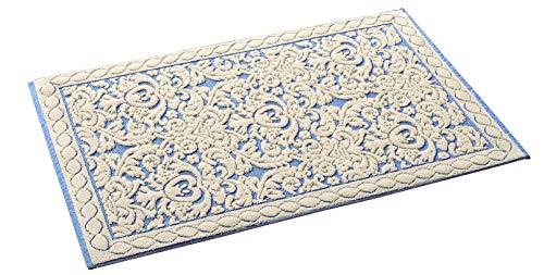 HomeLife Tappeto Cucina in Cotone Lavabile Made in Italy [60X45] | Passatoia Corridoio Moderna | Elegante Tappetino Scendiletto Casa Runner Beige e Disegno Corallo Blu [60X45, Beige/Blu]