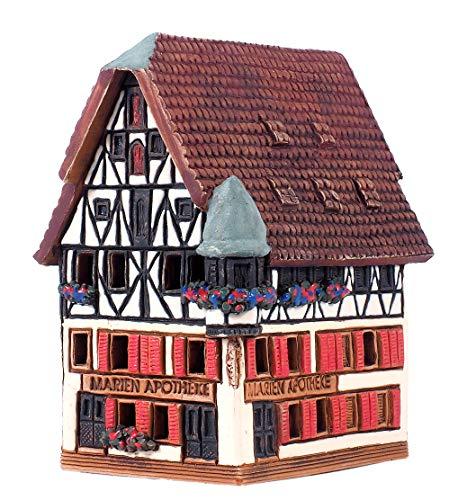 Ceramic Cone Incense Burner and Incense Cone Holder | Miniature Replica of The Original Marien Apotheke in Rothenburg | R278