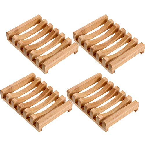 Norme 4 Stücke Holz Seifenschale Seifenhalter Natürliche Rechteckige Holz Seife Fall Halter für Küche Bad Schwamm Wäscher Seife