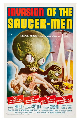 INVASION of the SAUCER MEN 1957 movie poster CREEPING horror teenagers 24X36 (reproduction, not an original)