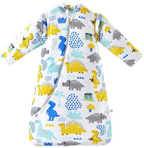 Chilsuessy Baby Schlafsack Winter, Abnehmbare Ärmel, warm gefüttert 3.5 Tog Winter Schlafsäcke Jungen Mädchen Schlafsack für Kleinkinder von 6 Monaten bis 6 Jahre, Dinosaurier, M/Baby Höhe 75-90cm