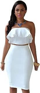 SEBOWEL Women's Ruffle Crop Top Maxi Skirt Set 2 Piece Outfit Bandage Nightclub Dress