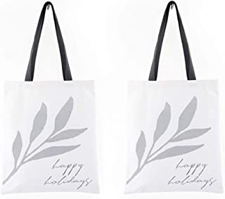 Xiazhi 100% Cotton Canvas Tote Bag, Reusable Grocery Bag,Eco Friendly Super Strong Washable,Pack of 2 (Gray)