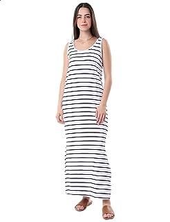 فستان قطن ماكسي مخطط بدون اكمام برقبة دائرية وفتحات جانبية للنساء من قاضي