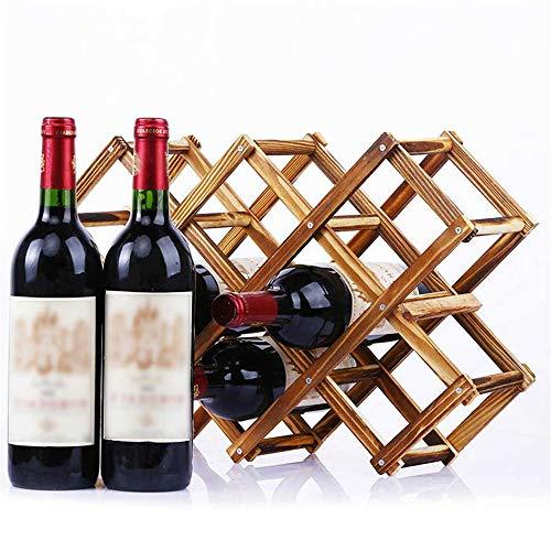 XQK Weinregal aus Holz 10 Flaschen Kapazität Zusammenklappbarer Weinflaschenhalter aus natürlichem Holz Weinregal für Display, dekorativ, Schrank, Bar