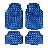 EUROXANTY Lot de 4 tapis de voiture universels en caoutchouc avec design métallisé bleu