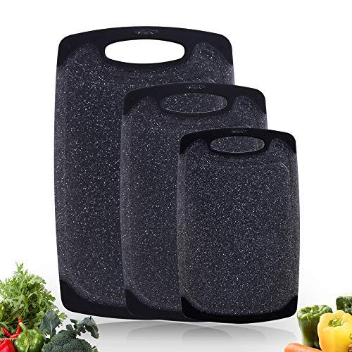 Haomacro Schneidebretter Set (3-teiliges Set), Küche Kunststoff Schneidebrett mit rutschfesten Füßen und tiefen Tropf Saft Groove, BPA frei, hängende Loch