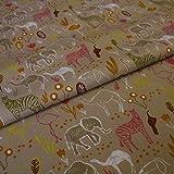Hans-Textil-Shop Stoff Meterware Safari Tiere Zebra Elefant