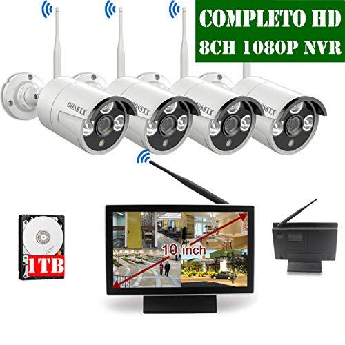 【2019 Nuevo】Sistema de Cámara CCTV Inalámbrica, Cámara de Seguridad Interior/Exterior, IP Cámaras de Visión Nocturna, 1080P NVR 2 1080P IP Cámara Con Pantalla de 10 Pulgadas Por OOSSXX con 1TB HDD