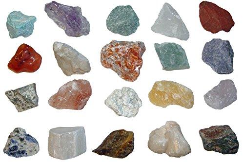 Mineralien Rohsteine Edelsteine Sammlung 20 Stück z.B. Rosenquarz , Bergkristall , Amethyst , Fluorit.(2065)