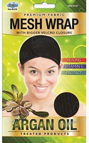 Dream Organic huile d'argan Mesh Wrap – With Bigger Velcro Closure – Couleur Noir (Color Black)