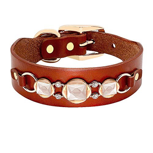ZYYC Fashion Leather Dog Collar French Bulldog Rhinestone Pet Collar Perro for Small Medium Dogs Metal Accessories Pet Collars-A_S