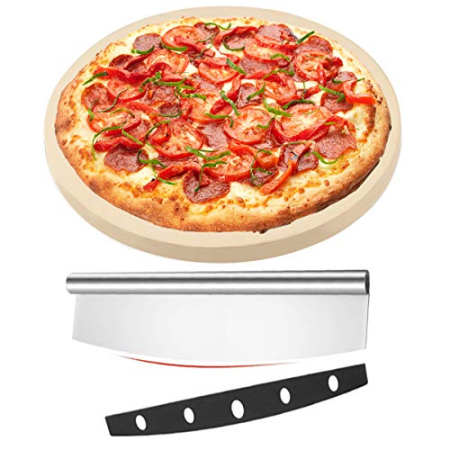 Time Forest Pizza Stone for Oven and Grill,Free Rocker Cutter,Durable and Safe Baking Stone for Grill, Thermal Shock Resistant Cooking Stone-12 Inch