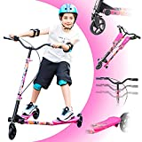 Wiggle Scooter with 3 Wheel,Sport drift Scooter for Boys and Girls Age 8 Years Old and Up,Lightweight,Foldable,Adjustable Height,for Riders up to 220 lbs