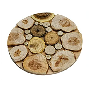 Handmade Wooden Trivet for Hot Dishes - 7.5 Inch. - Big Coaster - 6 Sorts of Wood - Natural Smell - Unique Art Decor in the Kitchen - Made by SPL Woodcraft Ukraine