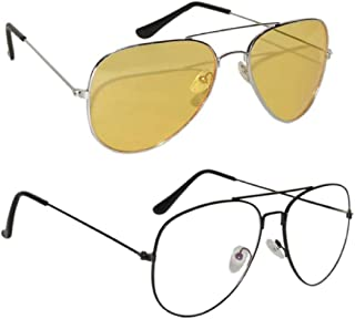 Peter Jones Combo of Transparent & Yellow Lenses Night Vision Driving Sunglasses (AV400Y-AV325B)