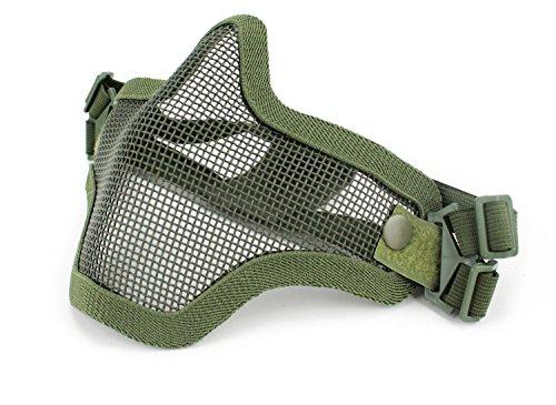Coxeer Mesh Gesicht Schädel Maske Airsoft Halbmaske Ausrüstung Stahl Airsoft Masken Gittermaske (Green)