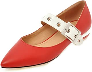 SJJH Marry Jane Shoes with Pointed Toe and Fashion Flats for Beautiful Women