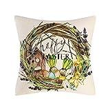 Watopia Funda de almohada de conejo de Pascua para sofá, funda de cojín suave decorativa, funda de almohada, decoración del hogar, decoración para sofá, cama, silla, 45 x 45 cm