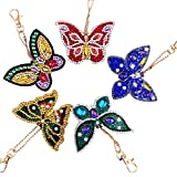 LXDDP DIY 5D Diamond Pattern Key Ring Set, Butterfly Crystal Rhinestone Diamond Bordado Pinturas Llavero Bolso Gancho Colgante Artesanía Decoración Artesanía Ganchos, Llavero