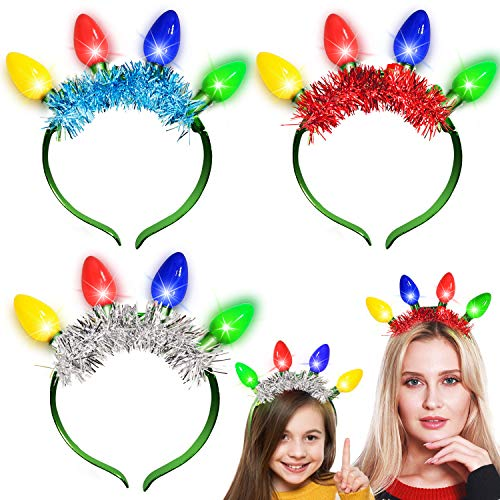 3 Pack Christmas Tinsel LED Headband with Colorful Bulb Lights Glow 6 Flashing Mode Christmas Party Favor Supplies Accessories for Kids Adults Xmas Holiday Funny Gifts