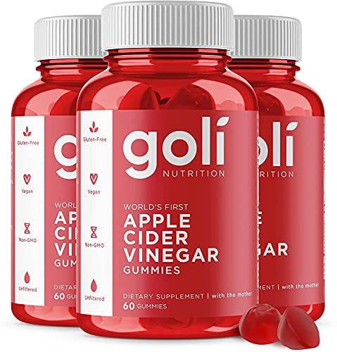 Apple Cider Vinegar Gummy Vitamins by Goli Nutrition ゴリ アップルサイダービネガー グミビタミン (3pack,180count) 3個,180粒 Official Distributor 正規輸入品 厚生労働省輸入許可済