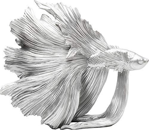 Kare Design Deko Objekt Betta Fish Silber Klein, silberner Fisch als Accessoire für das Wohnzimmer, in verschiedenen Ausführungen erhältlich (H/B/T) 36,5x33,5x14cm