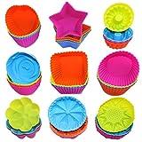 AIFUDA - Set di 36 coppette in silicone per cupcake, riutilizzabili, stampi antiaderenti, formine per muffin, ciambelle, in 9 forme
