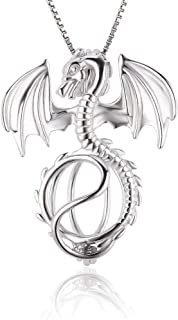 LGSY Sterling Silver Dragon Pearl Cage Pendants for Women, Design Pearl Cage Pendants for Pearl Jewelry Making, Essential ...