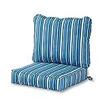 Greendale Home Fashions AZ7820-SAPPHIRE Steel Blue Stripe Outdoor 2-Piece Deep Seat Cushion Set