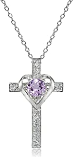 Sterling Silver Genuine, Created or Simulated Gemstone Heart in Cross Necklace for Women Girls