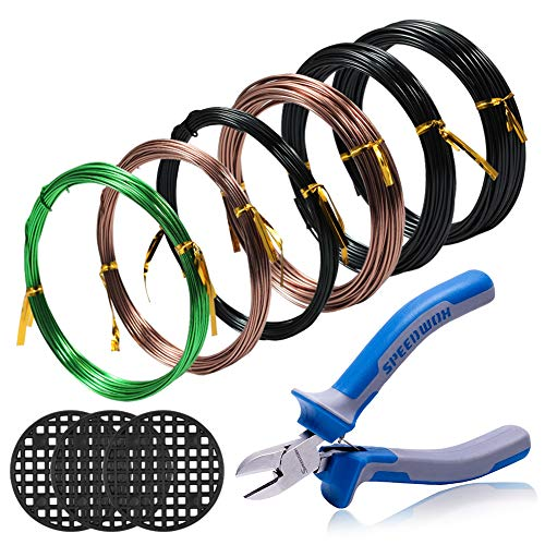 SPEEDWOX Tree Traning Wires Kit 6 Rolls with 3 Size 1mm 1.5mm 2mm Aluminum Wire Total 196.8 Feet CR-V Bonsai Wire Cutter 3pcs Round Flower Pot Hole Mesh Pad Bonsai Wire Set Bonsai Tools